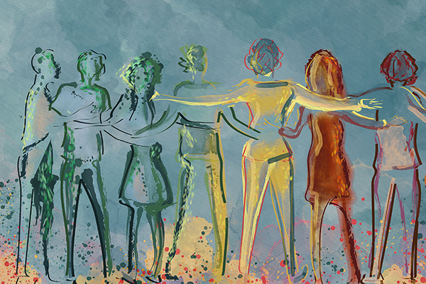 appy group of diverse people, friends. Watercolor concept back